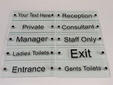 Sign plaque, Glass effect perspex & Brushed aluminium for reception, office, etc
