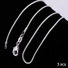Fashion 5pcs 925 Sterling Solid Silver Necklace 1mm Snake Chain 16-30inch H^