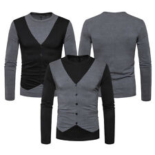 SUN Mens Slim Fit Long Sleeve Fake Two Pieces Crew-Neck Casual T-Shirt Tee Tops