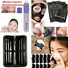 Face Nose Mask Mud Blackhead Electric Zit Acne Tweezers Remover Skin Clear Kit