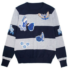 Womens Knitted Pullover Long Sleeve Sweater Jumper Stripe Knitwear Embroidery