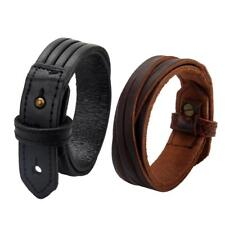 Women Men Casual Wear Stylish Fashion Double Belt PU Leather Bracelet Bangle