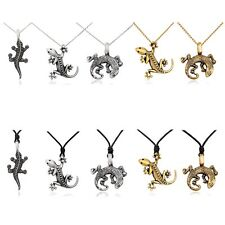 Gecko Silver Pewter Gold Brass Charm Necklace Pendant Jewelry