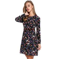 Women Casual Long Sleeve Print O Neck Pullover Tunic Dress ES88