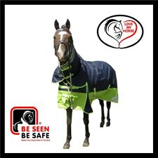 Love My HORSE 600D 300g 5'0 - 6'6 Reflective Winter Combo Rug Navy / Lime