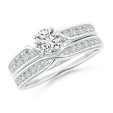 Solitaire Diamond Engagement Ring Wedding Band Set 14k White Gold Size3-13