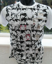 TOPMAN.T-Shirt.White. Shiny FACES Print.New.Sizes XS and Sm.Casual.100% Cotton
