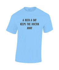 A Beer a Day keeps the doctor away Funny cotton T-shirt Blue