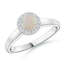 Natural Round White Opal Diamond Halo Ring in 14k White Gold Size 3-13