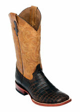 Ferrini Mens Chocolate Caiman Belly Print S-Toe 13in Cowboy Boots