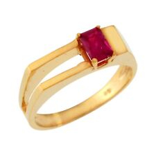10k or 14k Yellow Gold Simulated Ruby Simply Modern Design Band Ring