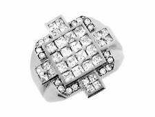 10k or 14k White Gold White CZ Cross Square Unique Designer Mens Ring
