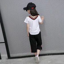 Summer Girls Tops T-shirts&Cropped Pants Set 3-8 Years Kids Tees&Trousers Outfit