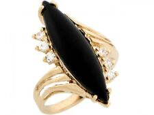 10k or 14k Real Yellow Gold Marquise Onyx with CZ Accent Ring