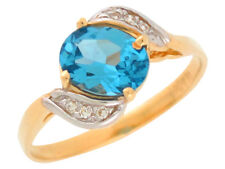 10k or 14k Two Tone Gold December Simulated Blue Zircon White CZ Ladies Ring