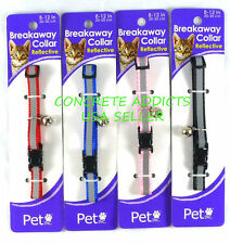 Cat Collar Breakaway Reflective Nylon w Bell Pet Inc Safety Red Black Blue Pink