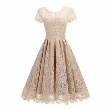 Women O Neck Khaki Color Lace Summer Short Sleeve Mid Calf Skater Party Dress