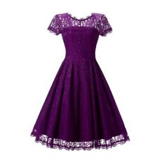 Women Purple Color O Neck Lace Summer Short Sleeve Mid Calf Skater Party Dress
