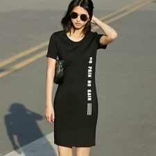 Women Casual Sheath Letter Print O-Neck Short Sleeve Above Knee Dress