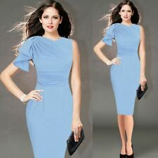 New Design Ruffle Sleeve Ruched Fitted Stretch Pencil Dress For Women
