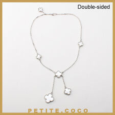 Handmade mother of pearl 6p four leaf clover silver necklace