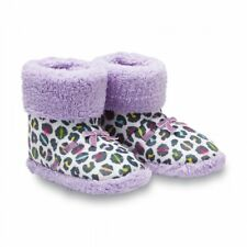 NWT Girls' Slipper Booties Boots Lavender Leopard Animal Print Sherpa Large 1/2