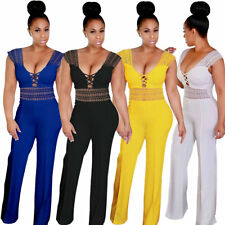 Womens Sexy Lace Up V Neck Sleeveless Hollow Lace Wide Leg Jumpsuits and Rompers
