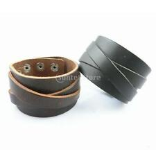 Multilayer Black Brown Leather Bracelet Bangle Wristband Adjustable Party Club