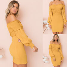 Cocktail Clubwear Dress Long Sleeve Evening Party Fashion Women Off Shoulder