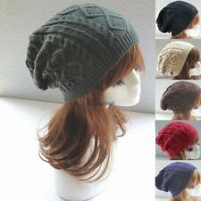 New Men Ladies Knitted Woolly Winter Oversized Slouch Beanie Hat Cap WT88