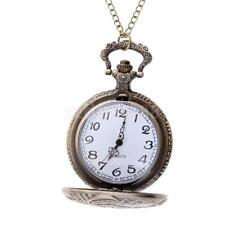 Antique Pendant Quartz Full Hunter Pocket Watch with Chain Vintage Bronze