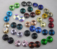 50pcs satellite shape Glass Color Faceted Glass Round Jewels silver bottom 12mm