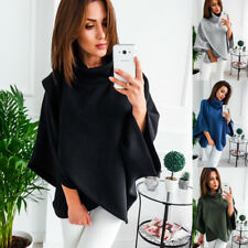 Women High Neck Cape Sweater Pullover Tops Coat  Long Sleeve Hoodies Sweatshirt