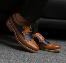 Mens Oxfords Brogue Faux Leather Carved Wing Tip Vintage 2017 Boots Pumps Shoes