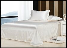 1200 1000 TC US Size Polyester Silk 4pc Sheet Set/3pc Duvet Set in Ivory Solid