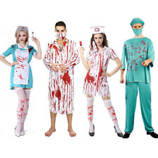 Zombie Doctor Nurse Costume Bloody Halloween Masquerade Party Fancy Dress Couple