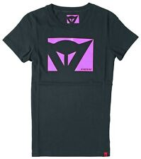 Dainese New Lady Ladies Womens Black Pink Logo Motorcycle T-Shirt