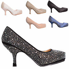 LADIES WOMENS LOW MID HEEL DIAMANTE PLATFORM PROM PARTY COURT SHOES SIZE 3-8