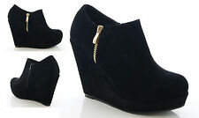 LADIES WOMENS WEDGE BOOTS ANKLE ZIP UP BLACK FAUX SUEDE HIGH HEEL SHOES SIZE