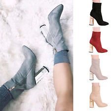 LADIES WOMENS HIGH STATEMENT HEEL ANKLE BOOTS PARTY FORMAL CASUAL SHOES SIZE 3-8