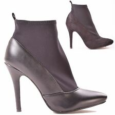LADIES WOMENS HIGH HEEL POINTED TOE FAUX LEATHER WORK ANKLE BOOTS SHOE SIZE 3-8