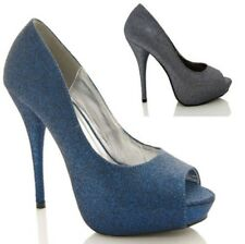 NEW LADIES WOMENS GLITTER PEEPTOE STILETTO PARTY COURT SHOES