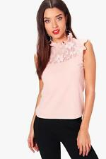 Boohoo Womens Lily Frill Lace Detail Top