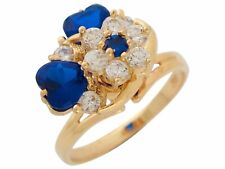 10k or 14k Gold Motion Spinning Simulated Sapphire Heart White CZ Ladies Ring