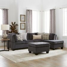 Sectional Sofa Set 3 Piece Home Furniture Couch Grey Ottoman Chaise Lounge Seat