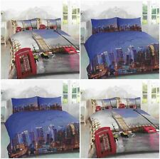NEW 3D LONDON BIG BEN NEW YORK SKYLINE DUVET QUILT COVER BEDDING PILLOWCASE SET