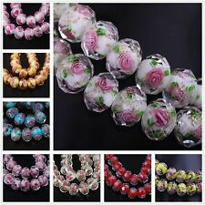 10pc Lampwork Glass Round Faceted Charms Loose Spacer Beads Jewelry Finding
