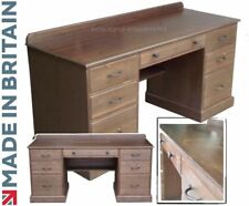 Solid Pine Writing Desk, Handcrafted & Waxed Twin Pedestal Desk With A4 Filing