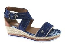 No Shoes Polo Canvas Cross Ankle Strap Low Wedge Sandal