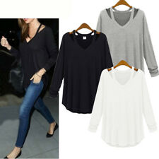 Casual Womens Ladies Cotton Blend Hollow Out Neck Long Sleeve Blouse Shirts Tops